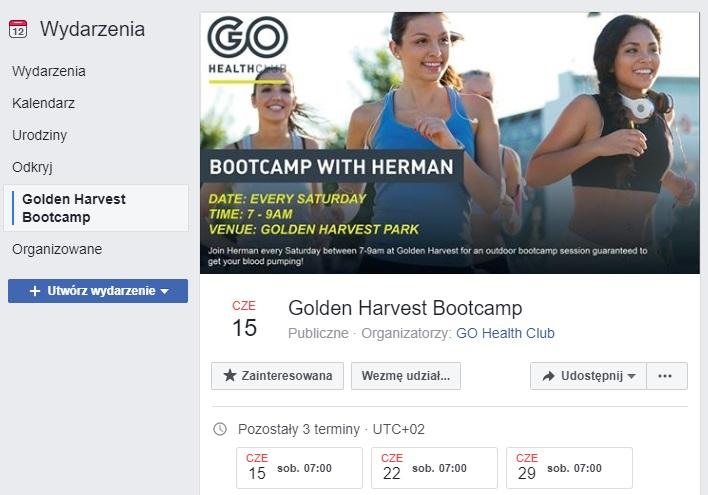 Przykładowe wydarzenie na Facebook organizowane przez Go Health Club