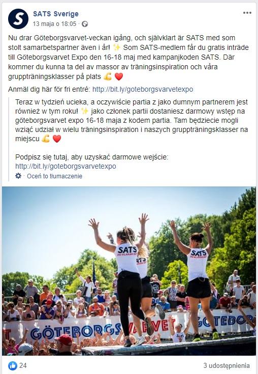 Przykład targów Goteborgsvarvet w których brały udział trenerki klubu SATS Sverige