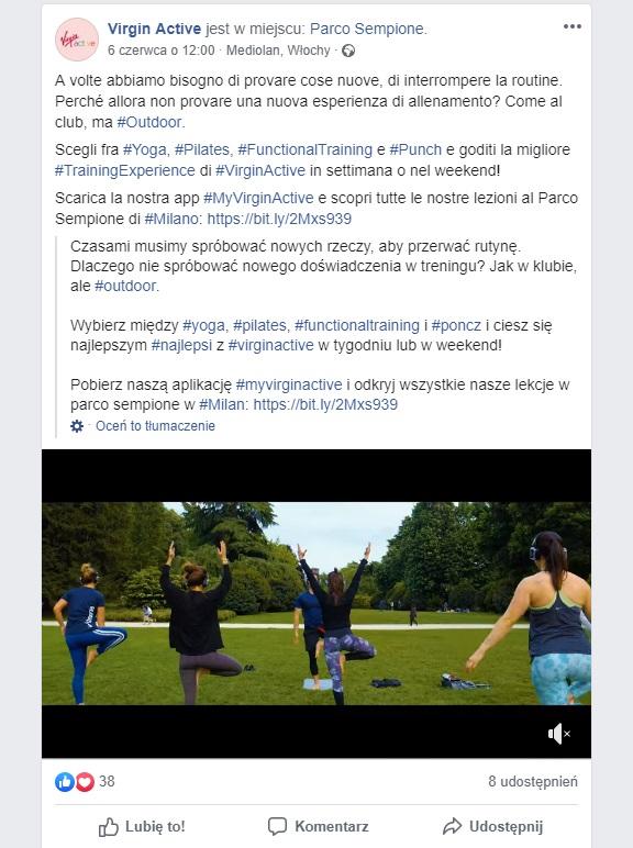 Ćwiczenia na dworze organizowane przez klub fitness Virgin Active