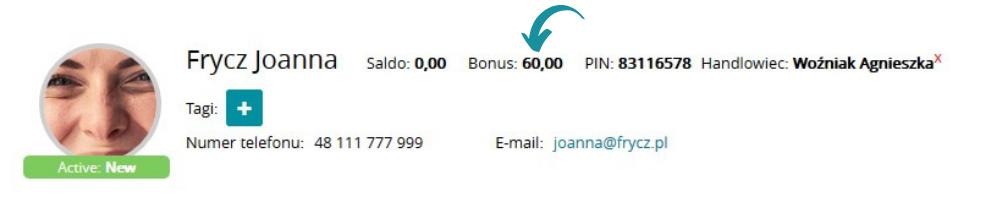 """Liczbę zebranych punktów bonusowych przez danego polecającego klubowicza możesz na bieżąco sprawdzać w profilu danego klubowicza w systemie eFitness w polu """"Bonus"""""""